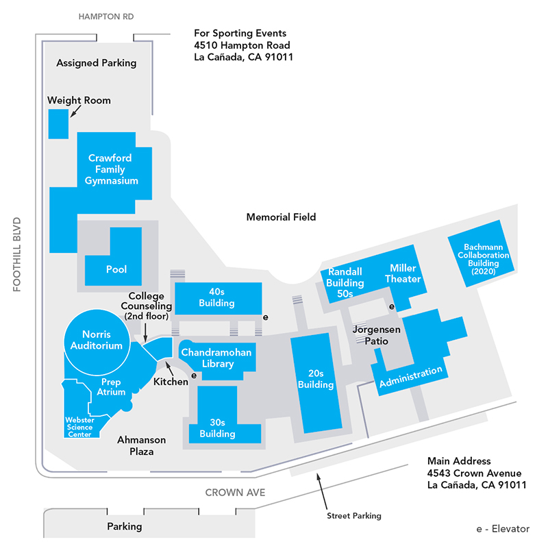Flintridge Preparatory School Campus Map